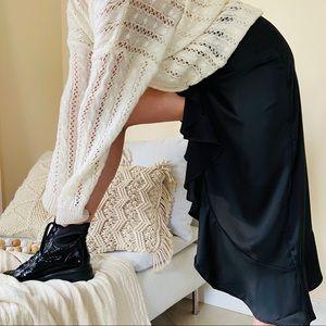 BNWT forever 21 black silky ruffle skirt